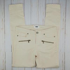 PAIGE   Indio Zip Skinny Moto Jean French Vanilla